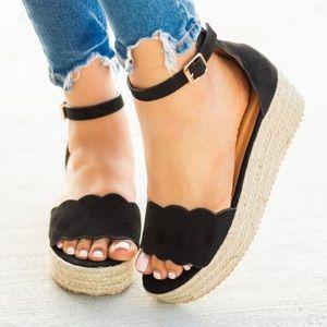 Shoes - ⚡️5 ⭐️⚡️BLACK SUEDE ESPADRILLES WEDGES - Shoe